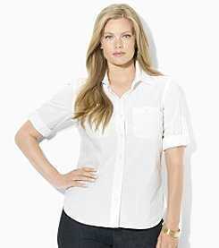Lauren Ralph Lauren® Plus Size Roll-Sleeve Shirt
