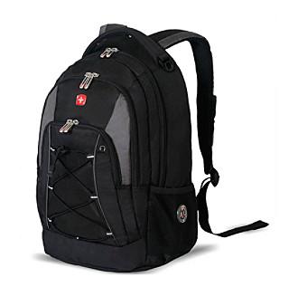 black gray bungee backpack