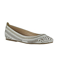 "Bella Vita® ""Taliah"" Laser-Cut Flats with Metallic Braid"