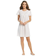Aria® Knit Short Gown - White Ditsy