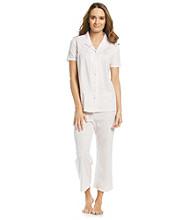 Aria® Knit Capri Pajama Set - White Ditsy