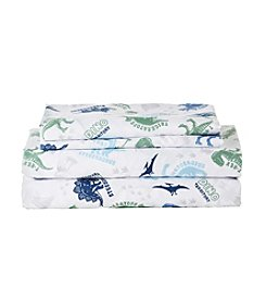 LivingQuarters Easy Care Dinosaur Print Microfiber Sheet Set