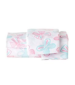 LivingQuarters Easy Care Butterfly Print Microfiber Sheet Set