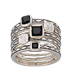 Sterling Silver, Onyx and Diamond Five Stackable Ring Band Set