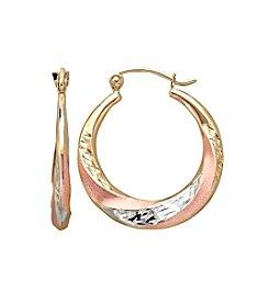 14K White Gold & Rose Gold Satin/Diamond-Cut Hoop Earrings
