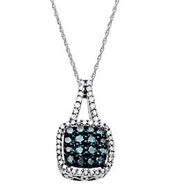 .50 ct. t.w. Green & White Diamond Pendant 10K White Gold