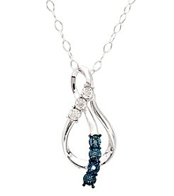 Blue and White Diamond Accent Pendant in Sterling Silver