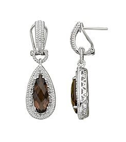 Faceted Smokey Quartz Drop Earrings in Sterling Silver