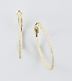 Designs by FMC 18K Gold Plated Over Sterling Silver Cubic Zirconia Inside/Outside Pave Hoop Earrings