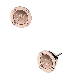 Michael Kors® Rose Goldtone MK Button Stud Earrings