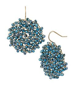 Kenneth Cole® Blue Woven Faceted Bead Round Drop Earrings
