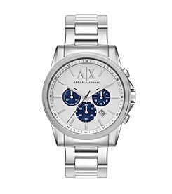 A|X Armani Exchange Silvertone Stainless Steel Bracelet Watch with Blue Sub-Eyes