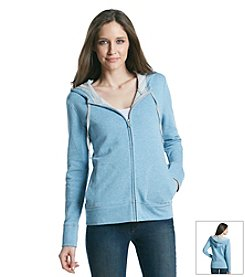 Gloria Vanderbilt® Sport Striped Zip Front Hoodie