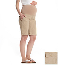 Three Seasons Maternity™ Stretch Poplin Cuffed Bermuda Shorts