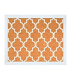 White Moroccan Pattern Cork Board