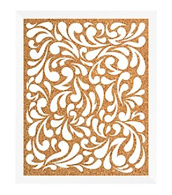Floral Pattern White Cork Memo Board