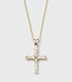Designs by FMC 18K Gold Over Sterling Silver Swarovski Zirconia Cross with X 18