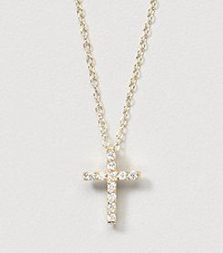 Designs by FMC 18K Gold Over Sterling Silver Swarovski Zirconia Cross 18