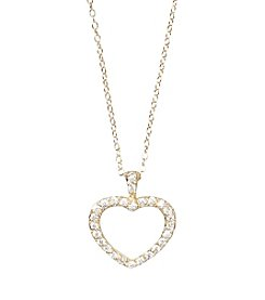 Designs by FMC 18K Gold Over Sterling Silver Swarovski Zirconia Open Heart 18
