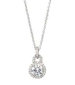 Designs by FMC Sterling Silver Swarovski Zirconia Round Halo Drop 18