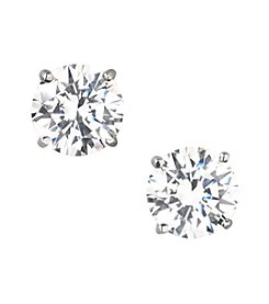 Designs by FMC Sterling Silver Swarovski Zirconia 8mm Solitaire Earrings