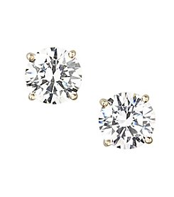 Designs by FMC 18K Gold Over Sterling Silver Swarovski Zirconia 8mm Solitaire Stud Earrings