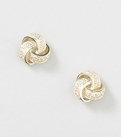Designs by FMC 18K Gold Over Sterling Silver Swarovski Zirconia Large Love Knot Stud Earrings