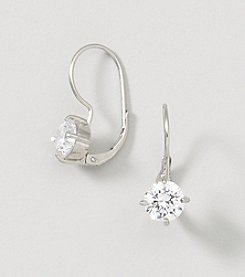 Designs by FMC Sterling Silver Swarovski Zirconia Solitaire Drop On Leverback Earrings