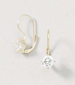 Designs by FMC 18K Gold Over Sterling Silver Swarovski Zirconia Solitaire Drop On Leverback Earrings
