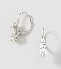 Designs by FMC Sterling Silver Swarovski Zirconia Three Stone Solitaire Leverback Earrings