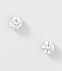 Designs by FMC Sterling Silver Swarovski Zirconia 6.5mm Solitaire Stud Earrings