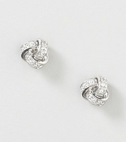 Designs by FMC Sterling Silver Swarovski Zirconia Love Knot Stud Earrings