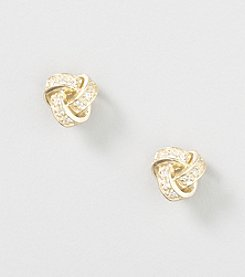 Designs by FMC 18K Gold Over Sterling Silver Swarovski Zirconia Love Knot Stud Earrings