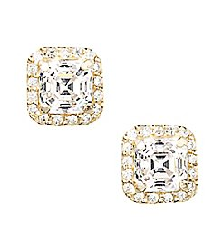 Designs by FMC 18K Gold Over Sterling Silver Swarovski Zirconia Octagon Cut Stone Stud Earrings