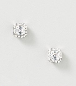 Designs by FMC Sterling Silver Swarovski Zirconia Octagon Cut Stone Stud Earrings