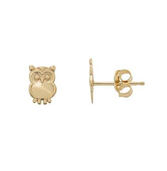 10K Yellow Gold Owl Earrings