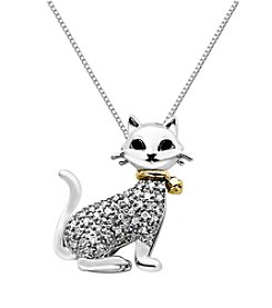 0.12 ct. t.w. Black & White Diamond Cat Pendant in Sterling Silver/14K Gold