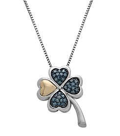 0.25 ct. t.w. Green & White Diamond Clover Pendant in Sterling Silver/14K Gold
