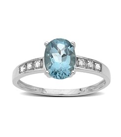 0.03 ct. t.w. Aquamarine and Diamond Ring in 10K White Gold
