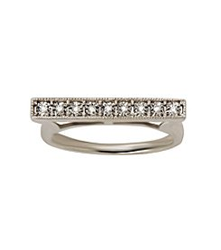 Di Aura Diamond Bar Ring in Sterling Silver