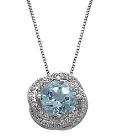 Aquamarine & White Topaz Pendant in Sterling Silver