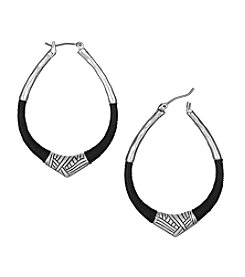 The Sak® Black/Silvertone Thread Arabesque Hoop Earrings