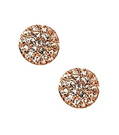 Givenchy® Rose Goldtone Pave Button Earrings