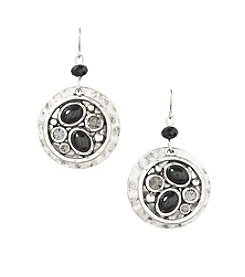 Laura Ashley® Black Drop Round Drop Earrings