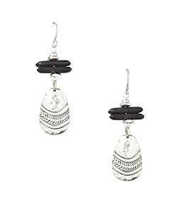 Laura Ashley® Black Etched Drop Earrings
