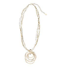 Laura Ashley® Two Tone Layered Circle Pendant Necklace