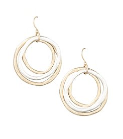 Laura Ashley® Two Tone Layered Circle Drop Earrings