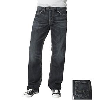 Silver Jeans Co. Men's Dark Wash Indigo Gordie Straight Fit Stretch Jeans
