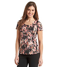 Notations® Petites' Abstract Floral Print Top