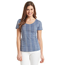 Notations® Petites' Allover Abstract Chevron Print Top
